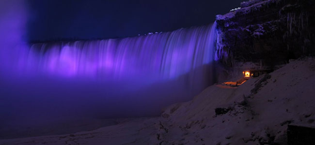 Falls at night in purple