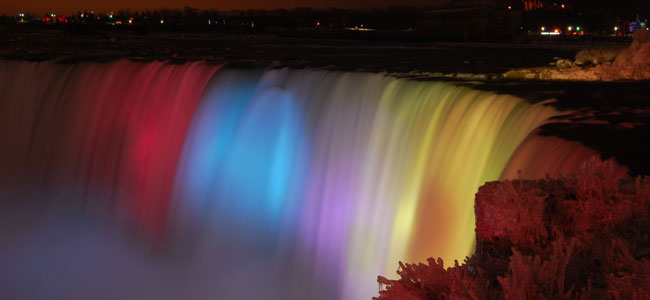 Falls at night with multiple colours