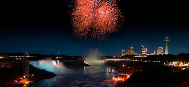 Niagara Falls skyline at night with Fireworks